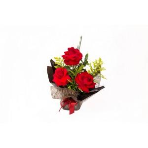 Arranjo de 3 Rosas  Colombianas vermelhas