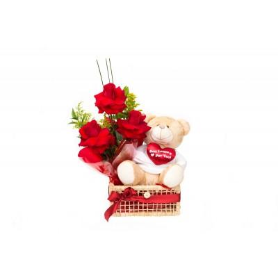 Cesta com 3 rosas Nacionais e urso