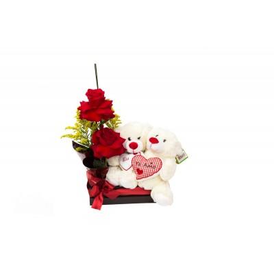Cesta com rosas importadas e urso