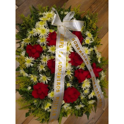 Coroa Fúnebre Grande com rosas vermelhas