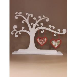 528 Arvore em madeira com corações porta retrato