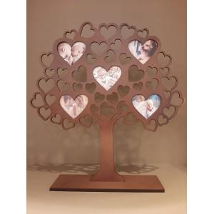 Arvore em madeira com porta retrato de coração