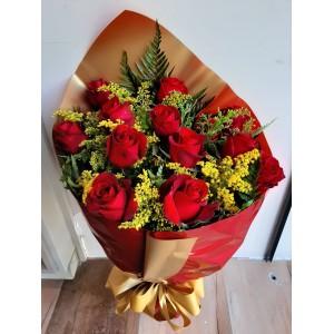 442 Bouquet de 12 Rosas  Vermelhas