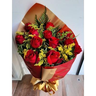 442 Bouquet de 12 Rosas  Colombianas Vermelhas