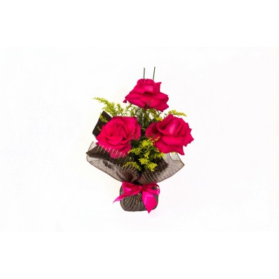 Arranjo de 3 rosas pink