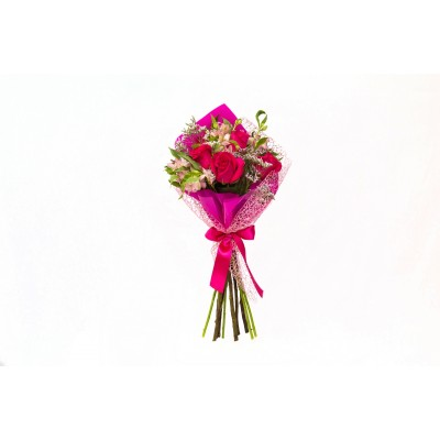 Bouquet de astroemeria e rosas na tela