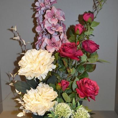 Arranjo com peônias, rosas e boca de leão, artificial