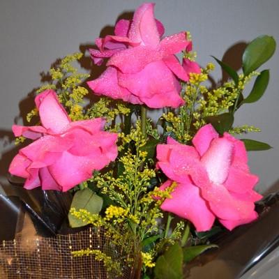 Arranjo de 3 rosas importadas pink